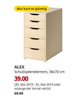IKEA Bielefeld - ALEX Schubladenelement, Birkenachbildung, 36x70 cm - jetzt 35% billiger