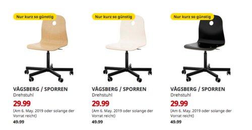 IKEABremerhaven - VAGSBERG / SPORREN Drehstuhl (Birkenfurnier, schwarz, weiß) - jetzt 40% billiger