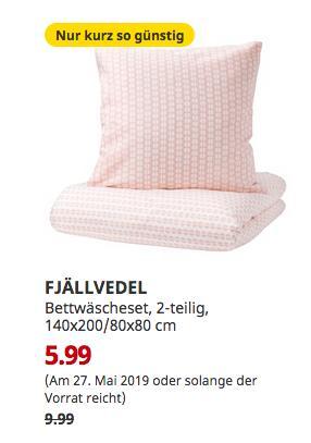 IKEA Brinkum - FJÄLLVEDEL Bettwäscheset, 2-teilig, rosa, 140x200/80x80 cm - jetzt 40% billiger