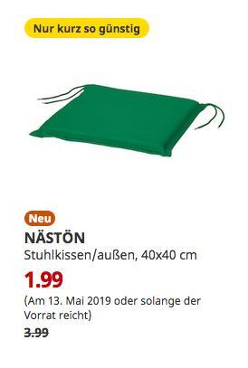 IKEA Brinkum - NÄSTÖN Stuhlkissen/außen, grün, 40x40 cm - jetzt 50% billiger