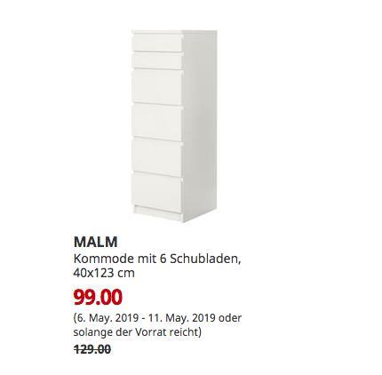 IKEA Chemnitz - MALM Kommode mit 6 Schubladen, weiß, Spiegelglas, 40x123 cm - jetzt 23% billiger