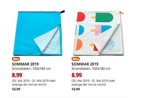 IKEA Chemnitz - SOMMAR 2019 Strandlaken, 100x180 cm, blau oder weiß/bunt - jetzt 31% billiger