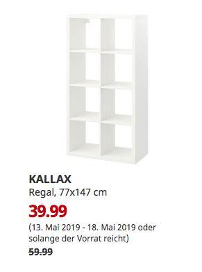 IKEA Düsseldorf - KALLAX Regal, weiß, 77x147 cm - jetzt 33% billiger