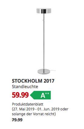 IKEA Düsseldorf - STOCKHOLM 2017 Standleuchte, verchromt,140 cm hoch - jetzt 25% billiger