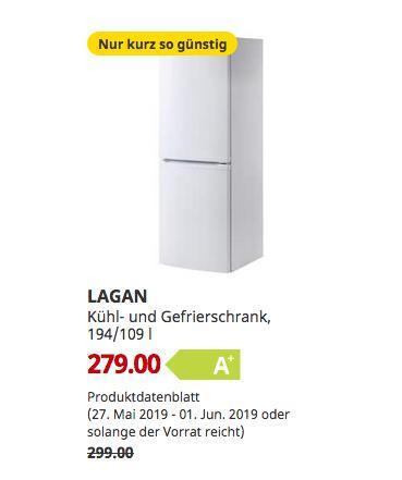 IKEA Dortmund  - LAGAN Kühl- und Gefrierschrank, weiß, 174.5 cm hoch - jetzt 7% billiger