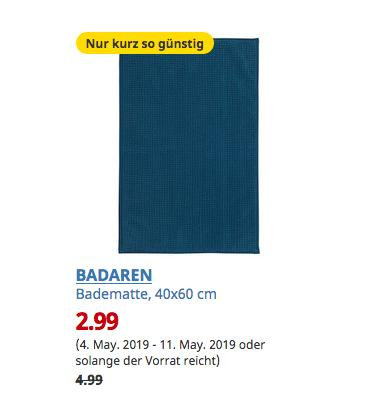 IKEA Duisburg - BADAREN Badematte, grünblau, 40x60 cm - jetzt 40% billiger
