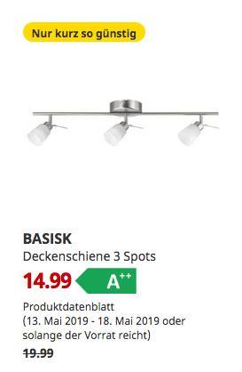 IKEA Essen - BASISK Deckenschiene 3 Spots - jetzt 25% billiger