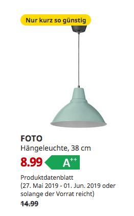 IKEA FOTO Hängeleuchte, grün, 38 cm - jetzt 40% billiger