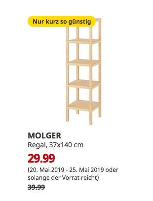 IKEA Frankfurt - MOLGER Regal, Birke, 37x140 cm - jetzt 25% billiger