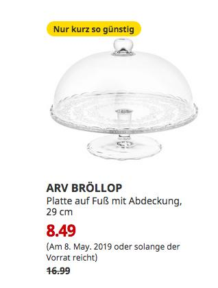 IKEA Freiburg - ARV BRÖLLOP Platte auf Fuß mit Abdeckung, Klarglas, 29 cm - jetzt 50% billiger