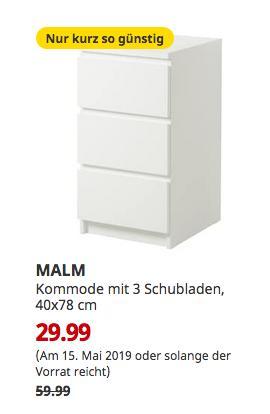IKEA Freiburg - MALM Kommode mit 3 Schubladen, weiß, 40x78 cm - jetzt 50% billiger