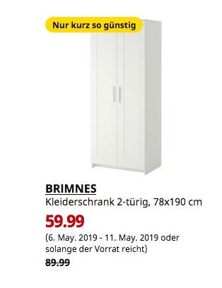IKEA Hamburg-Moorfleet- BRIMNES Kleiderschrank 2-türig, weiß, 78x190 cm - jetzt 33% billiger
