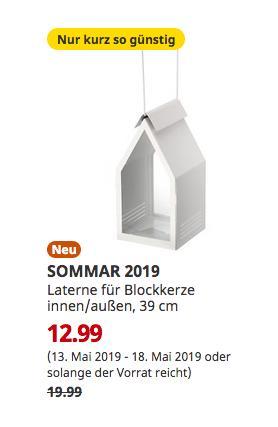 IKEA Hamburg-Moorfleet - SOMMAR 2019 Laterne für Blockkerze innen/außen, weiß, 39 cm - jetzt 35% billiger