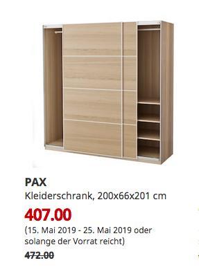 IKEA Hamburg-Schnelsen - PAX Kleiderschrank, Eichenfurnier weiß lasiert, 200x66x201 cm - jetzt 14% billiger