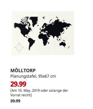 IKEA Hannover EXPO-Park - MÖLLTORP Planungstafel, Weltkarte, 95x67 cm - jetzt 25% billiger