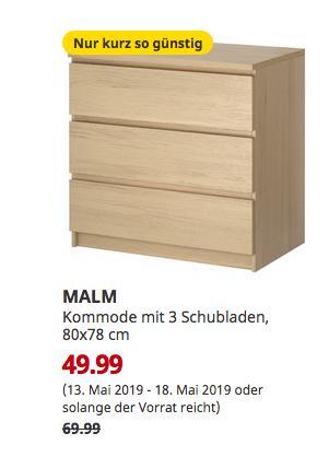 IKEA Köln-Am Butzweilerhof - MALM Kommode mit 3 Schubladen, Eichenfurnier weiß lasiert, 80x78 cm - jetzt 29% billiger
