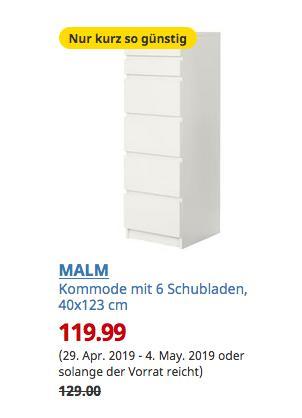 IKEA Köln-Godorf - MALM Kommode mit 6 Schubladen, weiß, Spiegelglas, 40x123 cm - jetzt 7% billiger