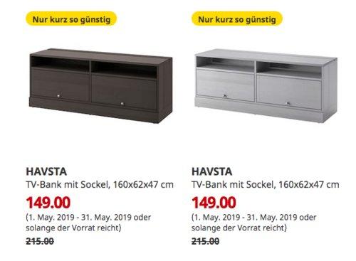 IKEAKaarst - HAVSTA TV-Bank mit Sockel, 160x62x47 cm,dunkelbraun odergrau - jetzt 31% billiger