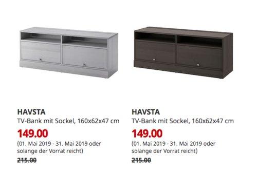 IKEA Kaarst - HAVSTA TV-Bank mit Sockel, 160x62x47 cm, grau oderdunkelbraun - jetzt 31% billiger
