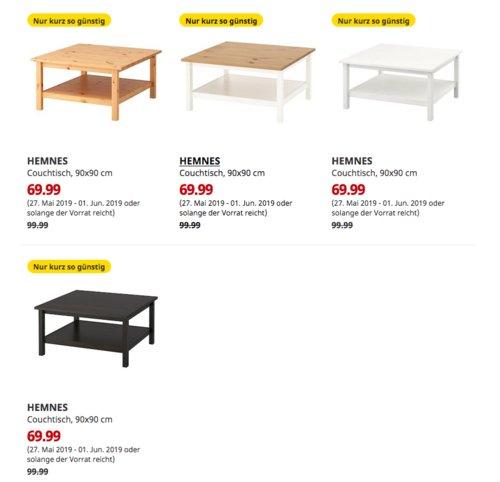 IKEA Kaarst - HEMNES Couchtisch, 90x90 cm, versch. Farben - jetzt 30% billiger