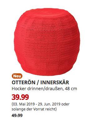 IKEA Kassel - OTTERÖN / INNERSKÄR Hocker drinnen/draußen, rot, 48 cm - jetzt 20% billiger