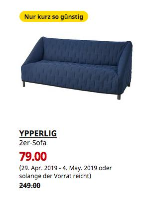 IKEA Kassel - YPPERLIG 2er-Sofa, Orrsta schwarzblau - jetzt 68% billiger