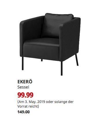 IKEA Koblenz - EKERÖ Sessel, Kimstad schwarz - jetzt 33% billiger