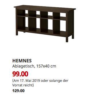IKEA Koblenz - HEMNES Ablagetisch, schwarzbraun, 157x40 cm - jetzt 23% billiger