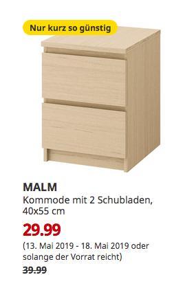IKEA Ludwigsburg - MALM Kommode mit 2 Schubladen, Eichenfurnier weiß lasiert, 40x55 cm - jetzt 25% billiger