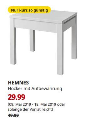 IKEA München-Brunnthal - HEMNES Hocker mit Aufbewahrung, weiß - jetzt 40% billiger