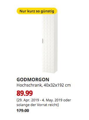 IKEA Magdeburg - GODMORGON Hochschrank, Resjön weiß, 40x32x192 cm - jetzt 50% billiger