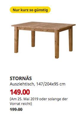 IKEA Saarlouis - STORNÄS Ausziehtisch, Antikbeize, 147/204x95 cm - jetzt 25% billiger