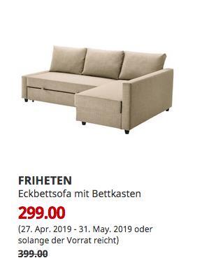 IKEA Sindelfingen - FRIHETEN Eckbettsofa mit Bettkasten, Skiftebo beige - jetzt 25% billiger