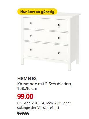 IKEA Wallau - HEMNES Kommode mit 3 Schubladen, weiß, 108x96 cm - jetzt 9% billiger