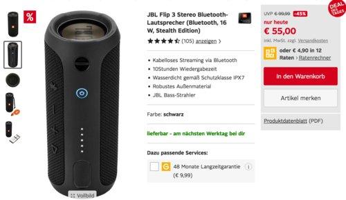 JBL Flip 3 Stereo Bluetooth-Lautsprecher (16 W, Stealth Edition) - jetzt 13% billiger