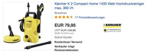 Kärcher K 2 Compact Home Hochdruckreiniger, max. 360 l/h - jetzt 11% billiger