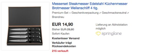 K & G 4-teilges Steakmesser-Set in schwarzer Holz-Geschenkbox - jetzt 50% billiger
