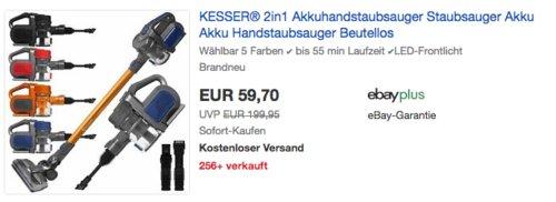 KESSER 2in1 beutelloser Zyklon Akku-Handstaubsauger (bis 55 min Laufzeit, LED-Frontlicht) in versch. Farben - jetzt 25% billiger