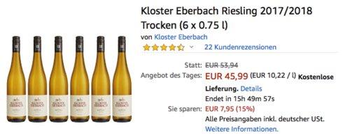 Kloster Eberbach Riesling 2017/2018 Trocken (6 x 0.75 l) - jetzt 20% billiger