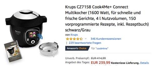 Krups CZ7158 Cook4Me+ Connect Multikocher, 150 vorprogrammierte Rezepte - jetzt 19% billiger