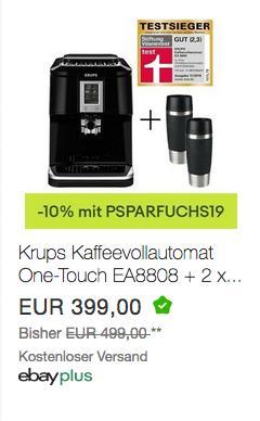Krups Kaffeevollautomat One-Touch EA8808 inkl. 2 x Emsa Thermobecher Travel Mug 360 ml - jetzt 10% billiger