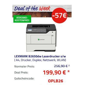 LEXMARK B2650dw S/W-Laserdrucker, A4 - jetzt 22% billiger