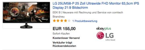 LG 25UM58-P 25 Zoll Ultrawide FHD-Monitor, 21:9, 5 ms - jetzt 8% billiger