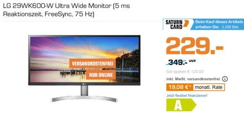 LG 29WK600-W 73.66 cm (29 Zoll) Ultra Wide Monitor (5 ms, FreeSync, 75 Hz) - jetzt 7% billiger