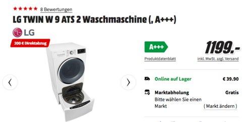 LG TWIN W9 ATS 2 Waschmaschine (9 kg Hauptmaschine und 2 kg Mini-Waschmaschine), A+++ - jetzt 17% billiger