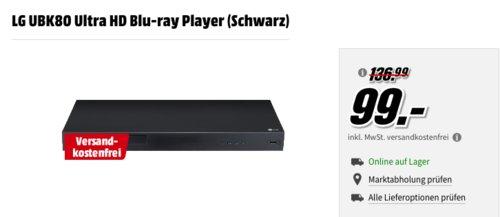 LG UBK80 Ultra HD Blu-ray Player - jetzt 19% billiger