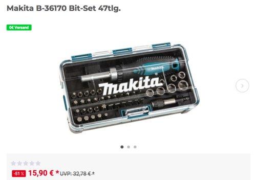 Makita B-36170 Bit- und Ratschen-Set , 47tlg. - jetzt 16% billiger