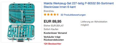 Makita P-90532 Werkzeug-Set (Bit-Sortiment, Stecknüsse), 227-teilig - jetzt 13% billiger