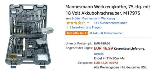 Mannesmann 75-teiliger Werkzeugkoffer inkl. 18 Volt Akkubohrschrauber, M17975 - jetzt 19% billiger