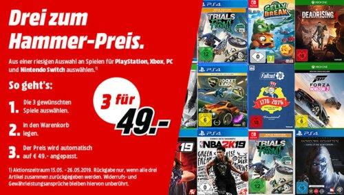MediaMarkt Aktion: 3 Spiele (PS4, Xbox, PC, Nintendo) für 49€, gilt bis 26.5.2019 - jetzt 41% billiger
